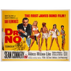 """Dr No"", 1962 UK Quad Film Movie Poster, Mitchell Hooks, James Bond"