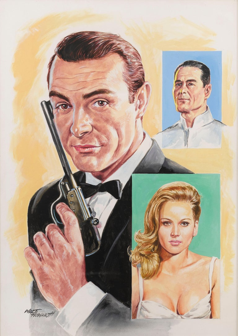 Original Artwork for the jigsaw puzzle commissioned by Arrow Games in 1967. Gouache on artboard by Walt Howarth (1928-2008) Dr. No starring Sean Connery is the first James Bond film in 1962, based on the 1958 novel of the same name by Ian Fleming.