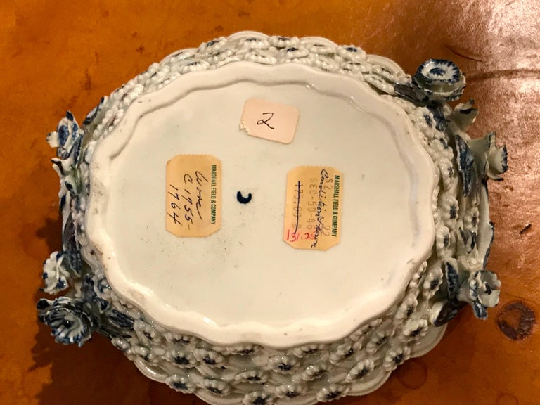 Dr. Wall Period Worcester Porcelain Blue and White Basket For Sale 9