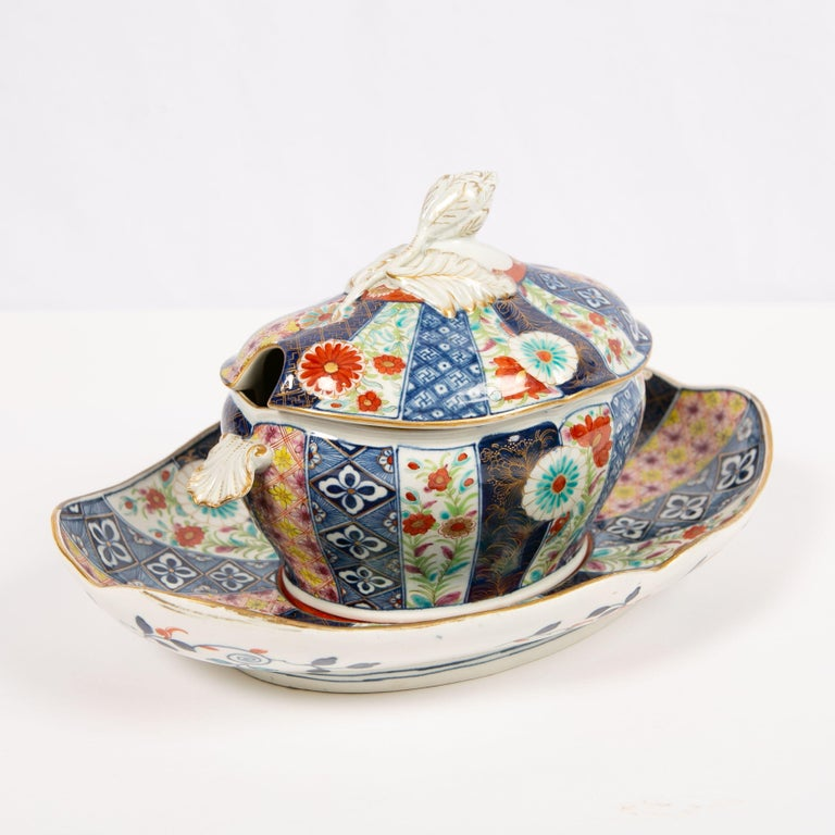 Dr. Wall Worcester Porcelain Mosaic Pattern Sauce Tureen and Stand Made For Sale 5