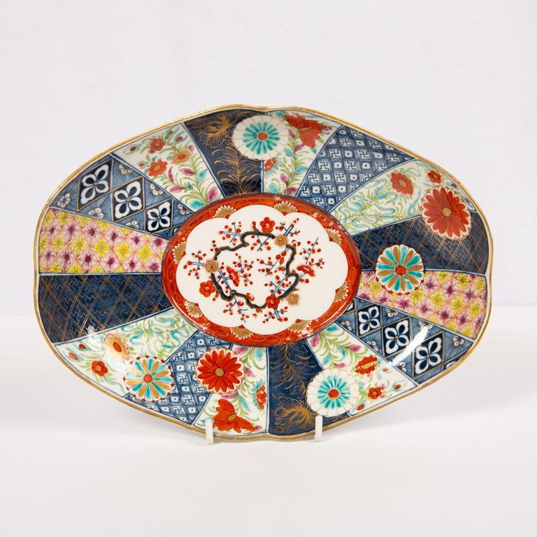 Georgian Dr. Wall Worcester Porcelain Mosaic Pattern Sauce Tureen and Stand Made For Sale