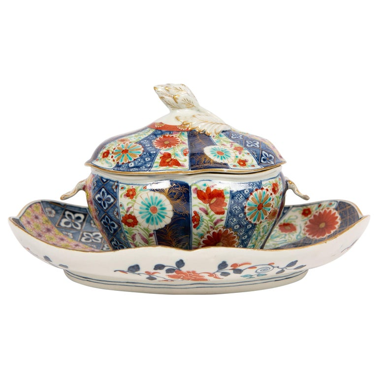 Dr. Wall Worcester Porcelain Mosaic Pattern Sauce Tureen and Stand Made For Sale