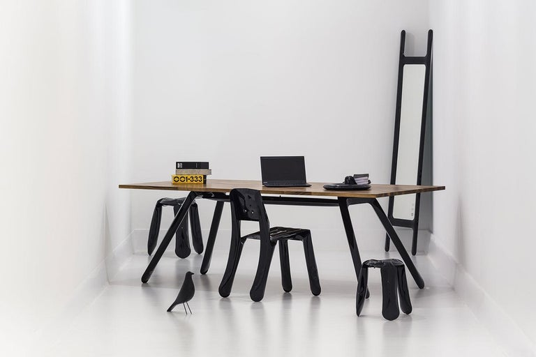 """Drab mirror by Zieta Prozessdesign Colored steel (black, white or grey) or stainless steel (inox).  Measures: 188 x 46 x 6 cm.  Zieta is best known for his collection of stools """"Plopp"""" made through the technologist Fidu. With the same principle"""
