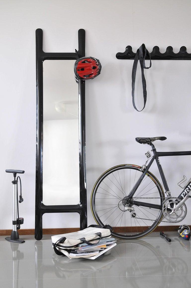 Minimalist Drab Mirror by Zieta Prozessdesign, Black Steel For Sale