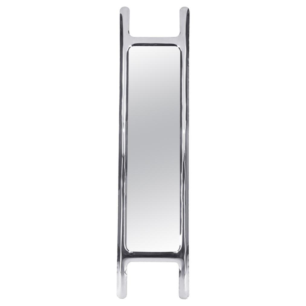 Drab Mirror Polished Stainless Steel Floor Mirror by Zieta