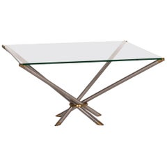 Draenert Glass Coffee Table Metal Brass Table Square