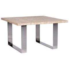 Draenert Primus Metal Travertine Coffee Table Beige Stone Top Table Square