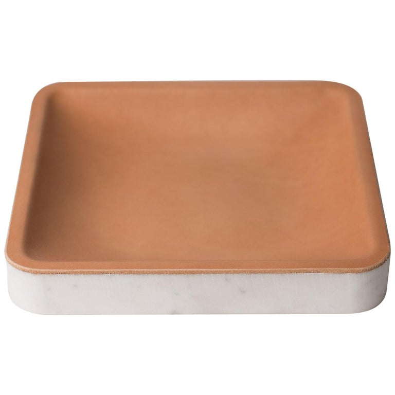 Draft Tray, Medium Square, Marble and Leather Table Top Valet Tray For Sale