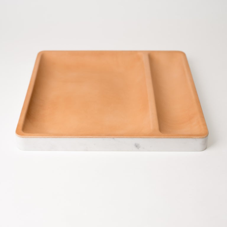 Minimalist Draft Tray, Slant, Marble and Leather Table Top Valet Tray For Sale