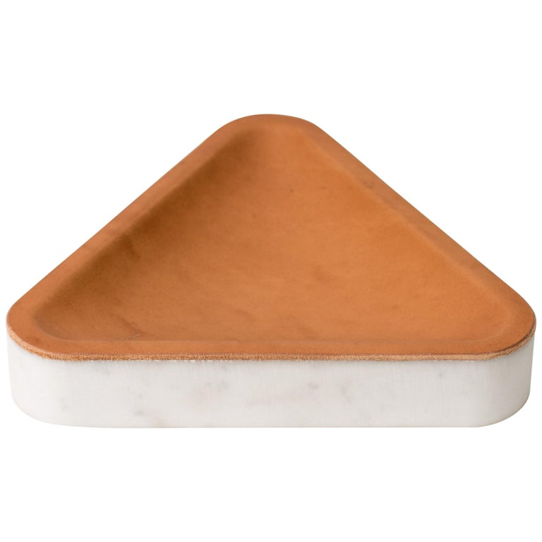 Draft Tray, Small: Equal Triangle, Marble and Leather Table Top Valet Tray For Sale