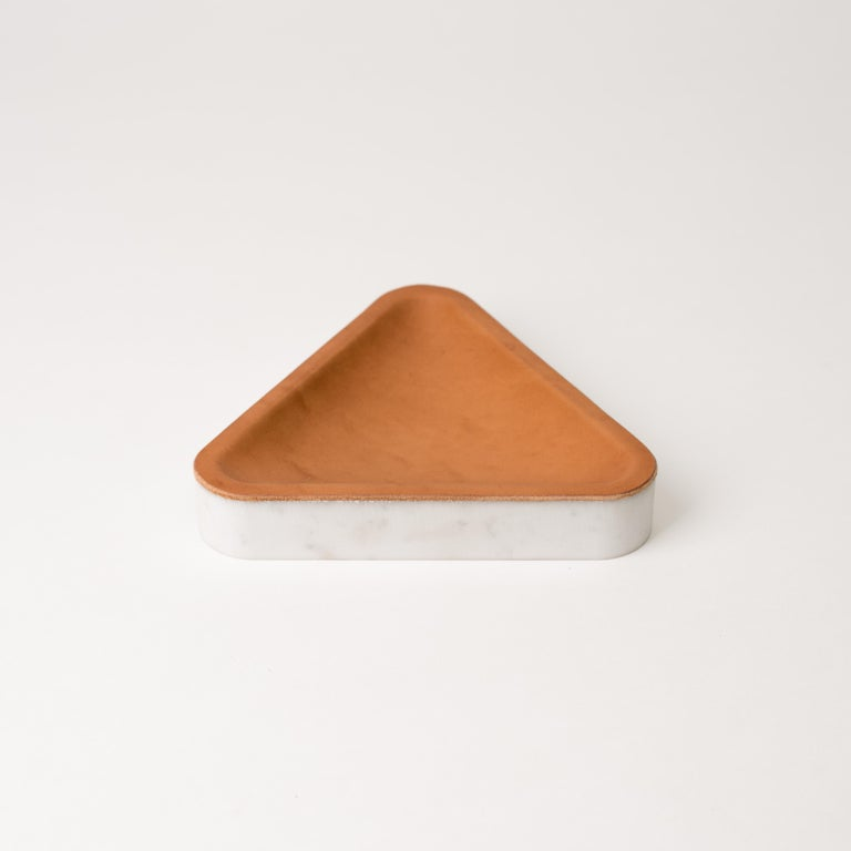 Minimalist Draft Tray, Small Iso Triangle, Marble and Leather Tabletop Valet Tray For Sale