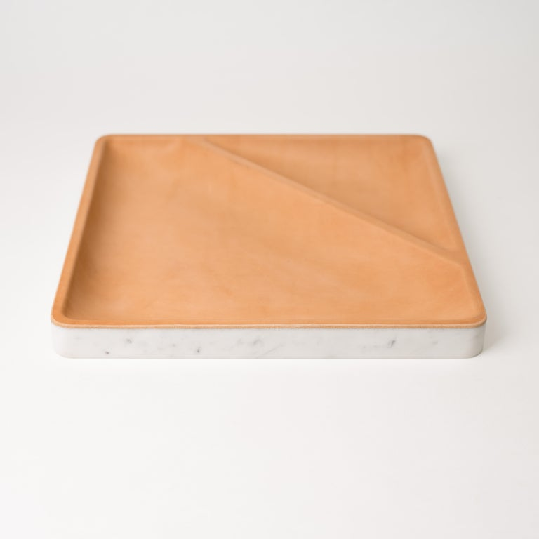 Minimalist Draft Tray Triangle, Marble and Leather Tabletop Valet Tray For Sale