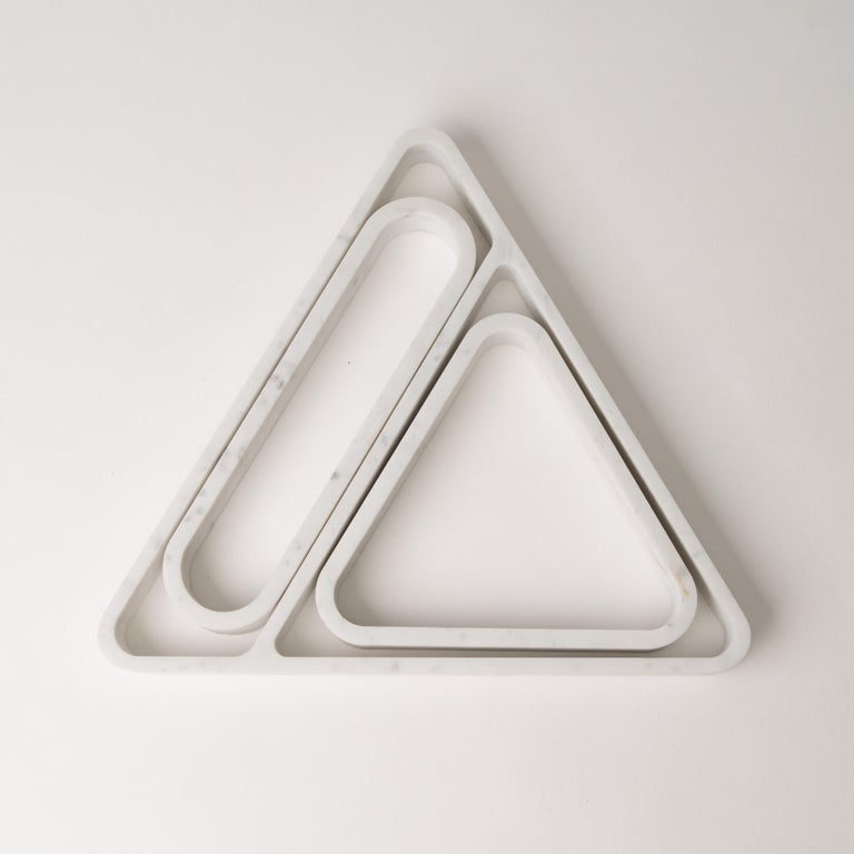 American Draft Tray Triangle, Marble and Leather Tabletop Valet Tray For Sale