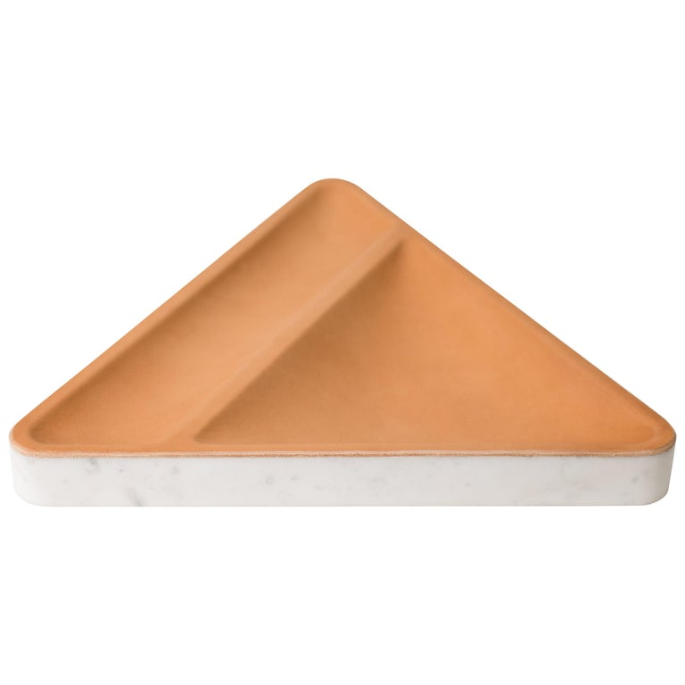 Draft Tray Triangle, Marble and Leather Tabletop Valet Tray For Sale