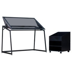 Drafting Table and Utility Cart, Blackened Steel, Gray Glass, Force/Collide