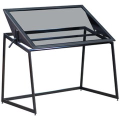 Drafting Table, Blackened Steel, Gray Glass, Pivot Top, Minimal, Force/Collide