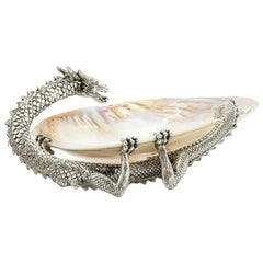 Dragon and Shell Cup in Silvered Finish