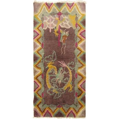 Dragon Art Deco Chinese Nichols Mat Rug, 20th Century