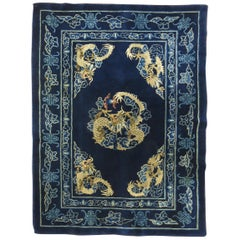 Dragon Blue Chinese Rug, Mid-20th Century