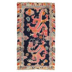 Dragon Blue Tibetan Rug, Mid-20th Century