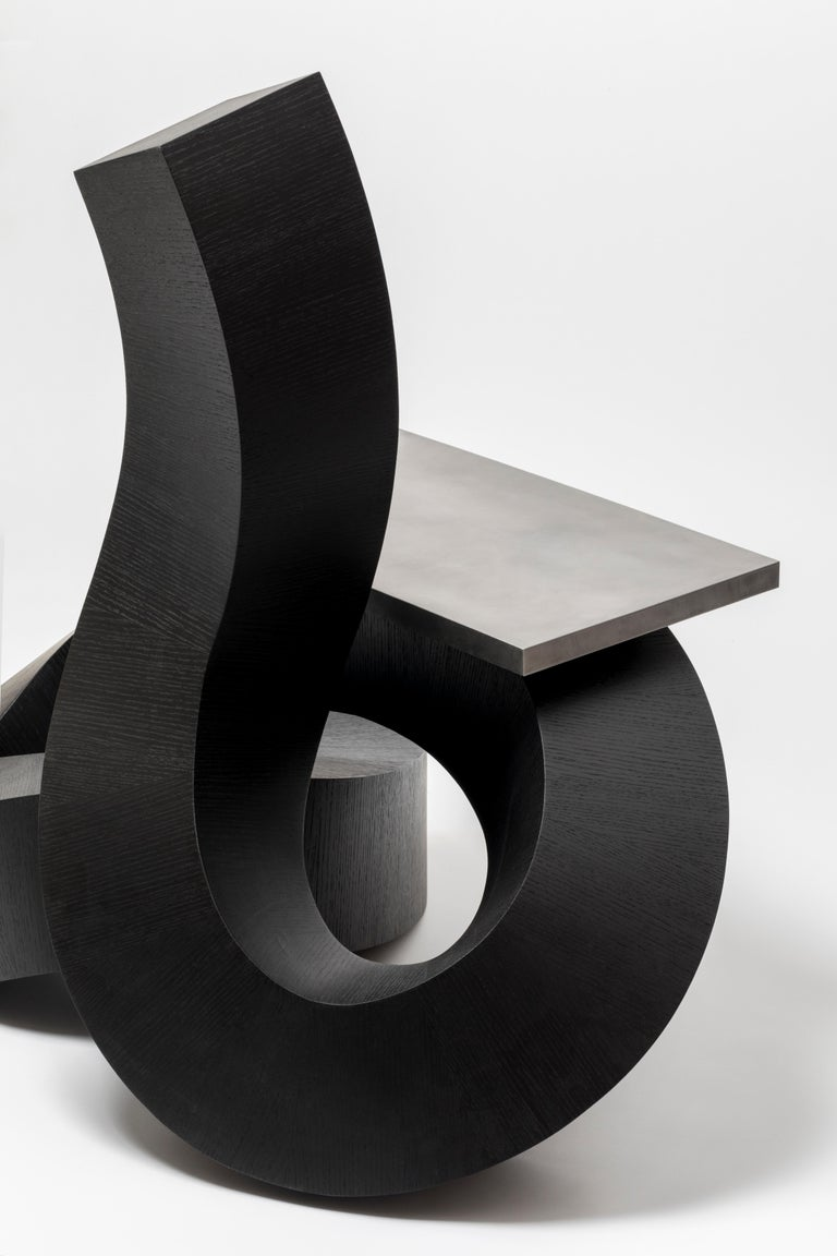 Dragon Chair Black Dyed Plywood and Aluminum by Chulan Kwak In New Condition For Sale In Los Angeles, CA