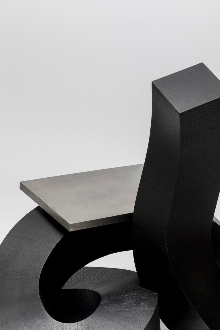 Contemporary Dragon Chair Black Dyed Plywood and Aluminum by Chulan Kwak For Sale