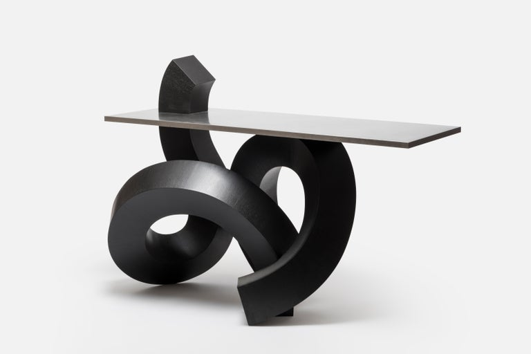 South Korean Dragon Console Table or Hallway Table Black Dyed Plywood and Aluminium For Sale