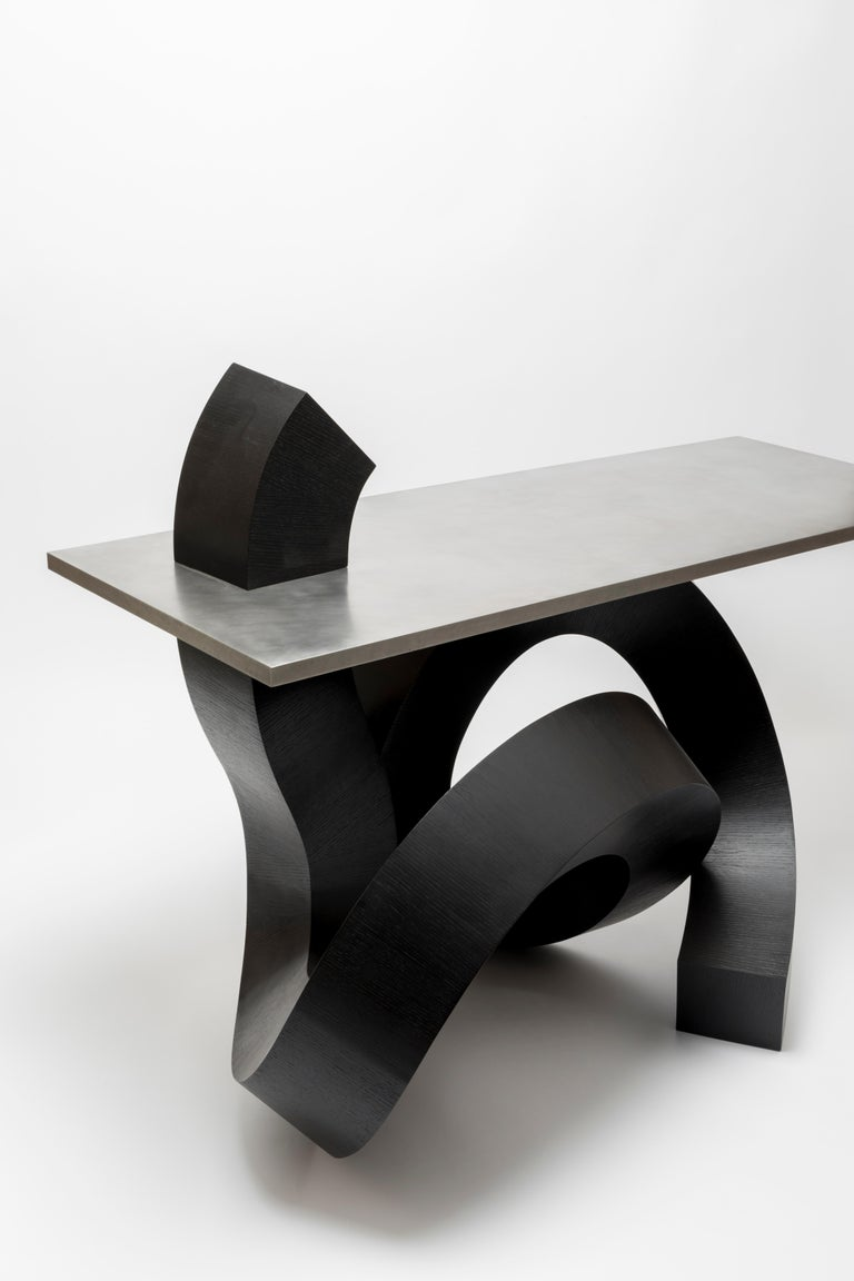 Dragon Console Table or Hallway Table Black Dyed Plywood and Aluminium In New Condition For Sale In Los Angeles, CA