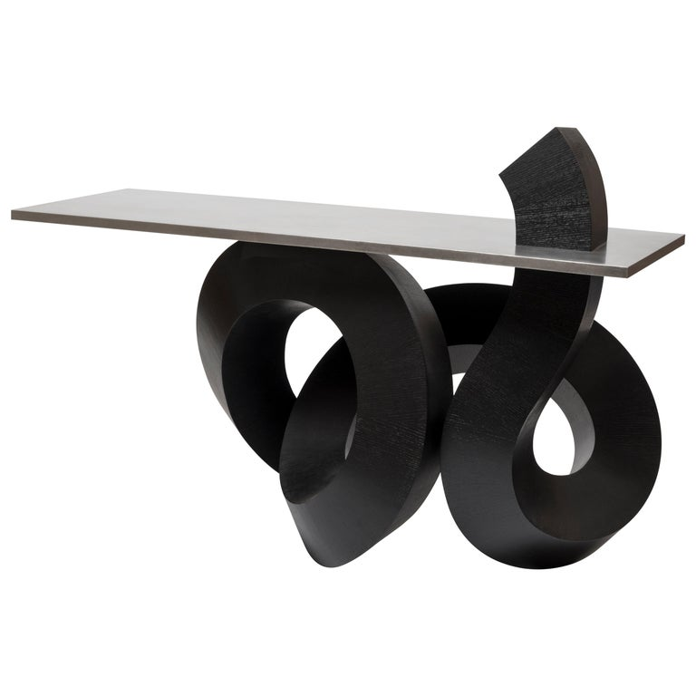 Dragon Console Table or Hallway Table Black Dyed Plywood and Aluminium For Sale