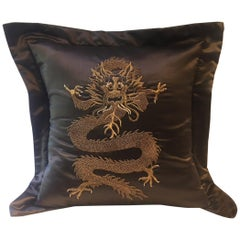 Dragon Design Cushion Silk Color Brown Hand Embroidery