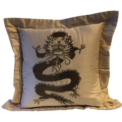 Dragon Design Cushion Silk Color Straw Hand Embroidery
