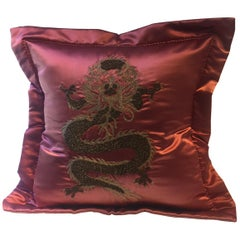 Dragon Design Cushion Silk Color Strawberry Red Hand Embroidery