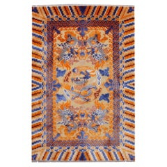 Dragon Design Rug Wool and Silk in Style of Chinese Kansu Carpets
