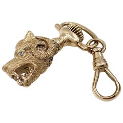 """Dragon-Dog"" Charm or Pendant in 18 Karat Yellow Gold with Diamond Eyes"