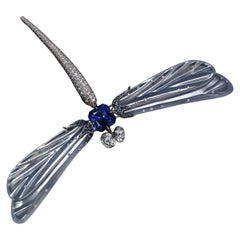"""Dragon Fly"" Grayish Blue Jade, Sapphire and Diamond Brooch"