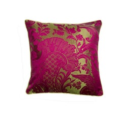 Dragon Geranium Fuchsia Damast Silk and Cotton Cushion/Pillow