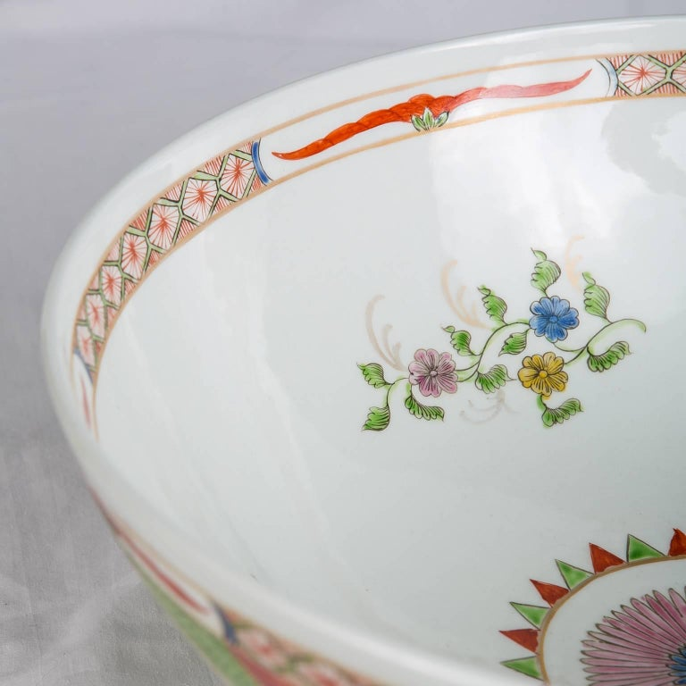 Dragon in Compartments Porcelain Punch Bowl Made, circa 1880 For Sale 3