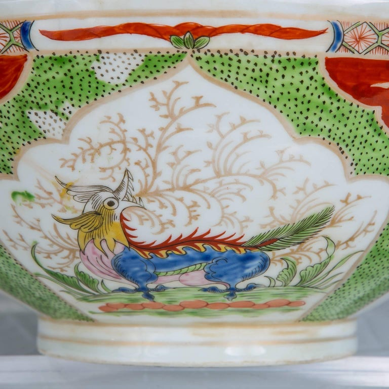 Qing Dragon in Compartments Porcelain Punch Bowl Made, circa 1880 For Sale