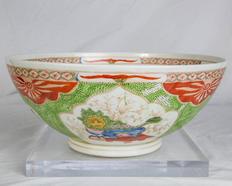 French Dragon in Compartments Porcelain Punch Bowl Made, circa 1880 For Sale