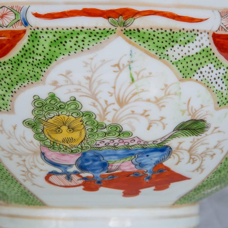 Hand-Painted Dragon in Compartments Porcelain Punch Bowl Made, circa 1880 For Sale