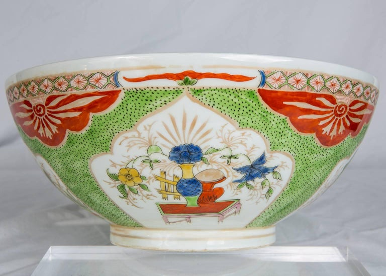 19th Century Dragon in Compartments Porcelain Punch Bowl Made, circa 1880 For Sale