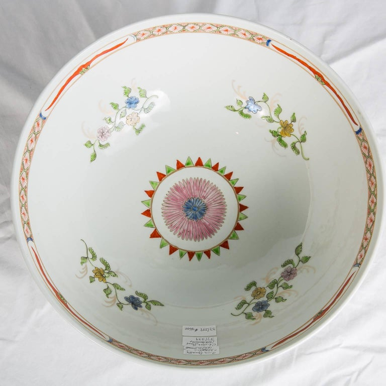 Dragon in Compartments Porcelain Punch Bowl Made, circa 1880 For Sale 1