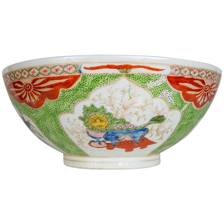 Dragon in Compartments Porcelain Punch Bowl Made, circa 1880 For Sale