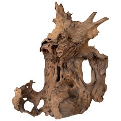 Dragon Mask Natural Wood Sculpture