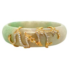 Dragon Motif HKJSL Certified Jade and Diamond Bangle in 18 Karat Gold