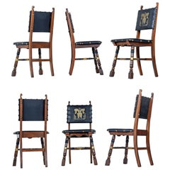 Dragon Motif Leather Gothic Revival Style Mahogany Oak Dining Chairs Set of 6