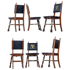 Dragon Motif Leather Gothic Revival Style Mahogany Oak Dining Chairs, Set of 6