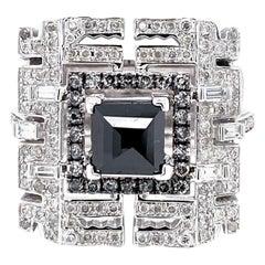 Dragon Motif Monochromatic Diamond Ring in 18 Karat Gold
