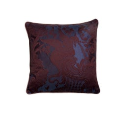 Dragon Orageux Dark Blue and Purple Damast Print Pillow Cushion