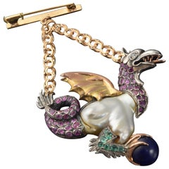 Dragon Pendant, Rubies, Emeralds, Baroque Pearl, Silver